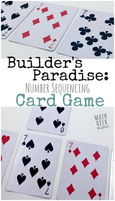 Builder's Paradise: Kindergarten Card Game | This fun and easy Kindergarten card game is a low-prep way to practice important math skills. Work on sorting, sequencing and counting. All you need is a deck of cards! http://mathgeekmama.com/kindergarten-card-game/?utm_campaign=coschedule&utm_source=pinterest&utm_medium=Bethany%20%7C%20Math%20Geek%20Mama&utm_content=Builder%27s%20Paradise%3A%20Kindergarten%20Card%20Game