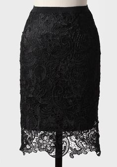 Fancying+You+Crocheted+Lace+Skirt+In+Black 42.99 at shopruche.com. An intricate crocheted lace overlay adorns this midnight black skirt with a scalloped hem. Finished with an exposed back zipper and an elastic waistband for a flattering silhouette. Fully lined.Self: 100��0Cotton, Lining: 100��.