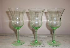 Green Depression Ribbed Optic Glass Wine Goblets 7""
