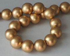 Gold Beads Metallic Beads Round Wood Beads 20 mm by AppleTreeBeads