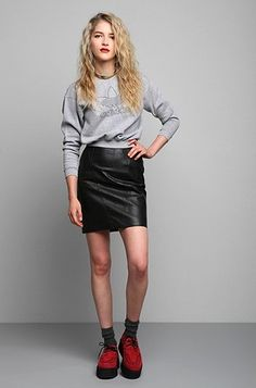 Saltwater Gypsy 80s vintage black leather mini skirt