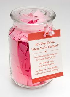 Looking for a perfect Mother's Day gift that will be used everyday for the next year? This gift will remind your mother of how much you care for her, and how much she is appreciated! This jar cont . Diy Mothers Day Gifts, Grandparent Gifts, Quotes Girlfriend, 365 Jar, Homemade Gifts For Mom, Ideas Hogar, Mother's Day Diy, Jar Gifts, Mom Birthday