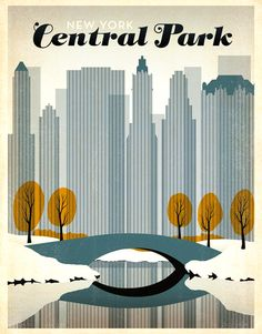 York Central Park Metal Tin Sign Poster Wall Plaque