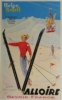 Original+vintage+poster+ski+Valloire+Savoie+France+Neige+Soleil
