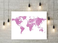 Pin By Ikonolexi On Ikonolexi World Maps Pinterest Map Canvas - Pink world map poster