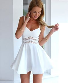 Straps Sleeveless Deep V-Neck Lace Hollow Out Patchwork Short Dress