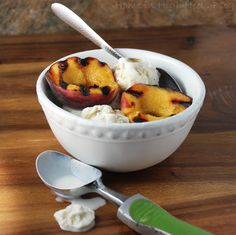 Grilled Peaches with Bourbon Sauce & Ice Cream