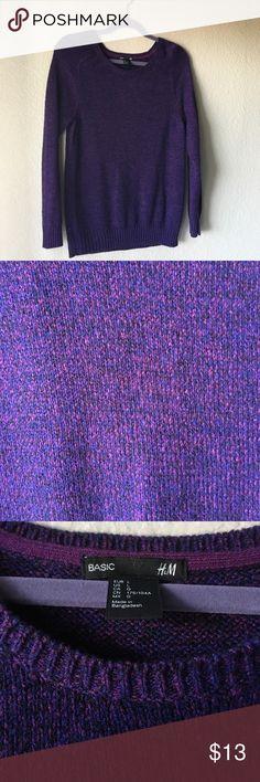 Pretty Purple Sweater Super soft !! Super pretty threading - I tried to take pictures in the different light to show the different colors in the sweater!! H&M Sweaters Crew & Scoop Necks