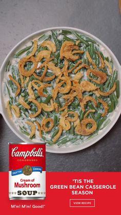 Greenbean Casserole Recipe, Casserole Recipes, Side Dish Recipes, Vegetable Recipes, Side Dishes, Thanksgiving Recipes, Holiday Recipes, Thanksgiving 2020, Holiday Appetizers