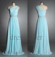 Custom Light Blue One Shoulder Beaded Long Prom Dresses Evening Dresses Bridesmaid Dresses 2014 Formal Party Dress Evening Gowns Formal Wear on Etsy, $109.00
