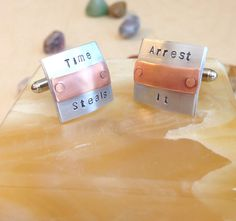 Custom Hand Stamped Cufflinks  Personalized by BlueCornerCreasigns