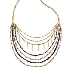 "Take your style from simple to statement – all in one piece! Goldtone and black faceted beads highlighted this multi-layered necklace set with multiple ways to wear it. Set includes two interchangeable goldtone strands that can be worn without the base necklace.· Base necklace:  16"" L with Lobster Claw clasp· Extender: 3 1/2"" L· Imported"