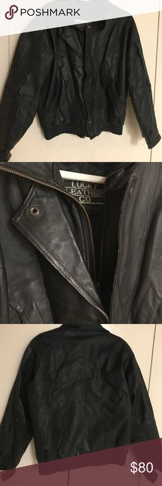 """""""LUCKY LEATHER  CO"""" med/L UNISEX Jacket VINTAGE STYLE. ALL GENUINE LEATHER! Used with expected ware and tare but in AMAZING SHAPE OVERALL. Listed for the Ladies but works just as great on the guys. Super chick style. Retro second inner zipper design keeps you standing out from all the leather jackets we're use to seeing on the street. Very warm and functional as well as stylish. A WIN-WIN ALL AROUND! Bundle and SAVE 30% on 3 or more items! NO REASONABLE OFFER REFUSED! THANKS FOR STOPPING BY…"""