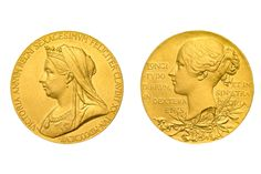 To the left is the official medallion, struck by The Royal Mint for Queen Victoria's Diamond Jubilee in 1897. It features a double headed design with the 'old head' Victoria on the obverse and the young head on the reverse.  This iconic design was the inspiration for the Queen's Diamond Jubilee Official UK £5 coin released in 2012. The legacy is clear. http://bit.ly/1Jgz9W3