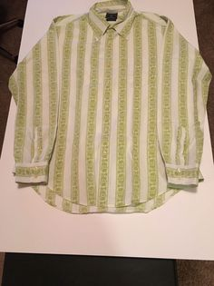 Mens Size Large LUCKY BRAND Green White Floral Stripe Button Front Shirt VGUC #LuckyBrand #ButtonFront #Dungarees