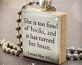Shh I'm Reading - necklace Charm handmade with Scrabble Wood Tile ... Jewelry Art by HomeStudio. $9.00, via Etsy.