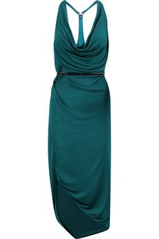 Halston Heritage Leather-trimmed draped satin-jersey dress | THE OUTNET
