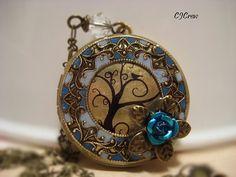 Locket, Image Locket, Aqua, Blue, Bird Tree Flower Brass Filigree Frame Colored Resin Photo Image Locket