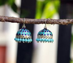Jhumka, Ethnic Sterling Silver Earring , Blue Enamel Dome Shaped Dangle Chandelier with glass beads
