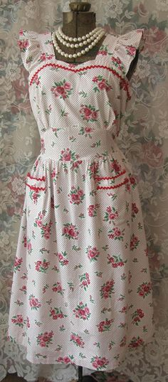 40s Roses Print Pinafore Daydress Pink Roses and Polka Dots Vintage Housedress Red Ric Rac Trim Sweetheart Neckline Excellent Condition by VintageClothingandCo on Etsy