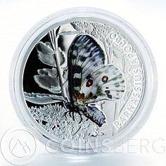 Niue 1 dollar butterflie Parnasius Apollo silver color coin 2010