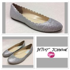 """Betsey Johnson  Silver Glitter Flats  Size 7M Betsey Johnson scalloped edge silver glitter """"SB-DANCE"""" flats from the blue collection. All manmade materials with blue sole. Pre loved, some glitter worn off inside ankles, but not noticed when they are on. Betsey Johnson Shoes Flats & Loafers"""