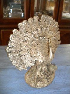 Silver Peacock Statue - Tibetan Silver. $95.00, via Etsy.