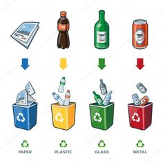 Buy Recycling Bins for Paper Plastic Glass Metal Trash by petov on GraphicRiver. Four recycling bins illustration with paper, plastic, glass and metal separation. Earth Day Crafts, Earth Day Activities, Trash Art, Plastic Glass, Recycling Bins, Plastic Recycling, Worksheets For Kids, Painting For Kids, Cartoon Styles