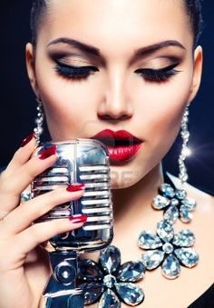 Singer Woman with Retro Microphone  Vintage Style Stock Photo - 18098425