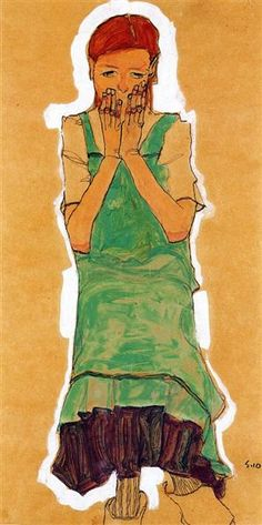 Girl with Green Pinafore, 1910 by Egon Schiele. Expressionism. portrait. Private Collection