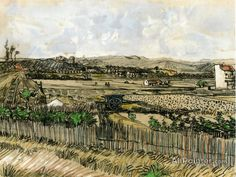 Vincent Van Gogh Harvest In Provence, At The Left Montmajour oil painting reproductions for sale