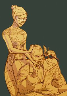 """Edi and Joker """"grow old"""" together. Is that a geth cat on his shoulder?"""