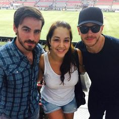 Josh Dallas and Colin O'Donoghue with a fan watch the Vancouver Whitecaps game together. Vanvouver, Canada - Saturday July 12, 2014