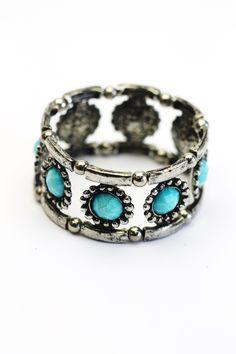 Bracelete prata com  turquesa