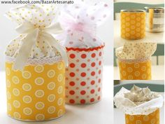 Gift Wrapping Inspiration : Cute small gift packaging- Tin can covered in fabric or paper, fabric glued to inside top of can and tied off with a bow! Pretty Packaging, Gift Packaging, Packaging Ideas, Simple Packaging, Tin Can Crafts, Diy And Crafts, Craft Gifts, Diy Gifts, Food Gifts