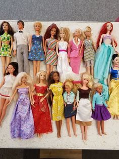 Mixed Lot of 16 Barbie Dolls , all Dressed,, variety of eras & designs #Mattel #DollswithClothingAccessories