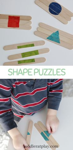 Popsicle Stick Shape Puzzles – Toddler at Play – Activities Popsicle Stick Shape Puzzles – Toddler at Play – Activities,Learning Shapes Easy to make shape puzzles from popsicle sticks, perfect for toddlers and preschoolers! Preschool Learning Activities, Infant Activities, Kids Learning, Pre School Activities, Learning Through Play, Reading Activities, Art Activities, Toddler Fun, Toddler Preschool