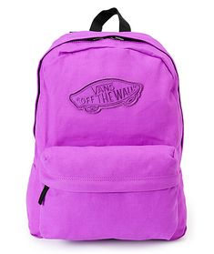 When back to school rolls around, show off your stellar style with the Realm Neon Purple backpack from Vans. This classic cut backpack features a large main compartment with padded back and double zipper closure. With a front organizer pocket, adjustable