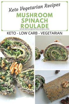 A delicious keto vegetarian dish with mushrooms, spinach and walnuts is delicious either warm or cold.    #keto #ketovegetarian #vegetarian #lowcarb #roulade #savouryroulade #mushrooms #lowcarbvegetarian Vegetarian Dish, Low Carb Vegetarian Recipes, Vegetarian Entrees, Keto Recipes, Light Appetizers, Low Carb Appetizers, Keto Mushrooms, Stuffed Mushrooms, Roulade Recipe