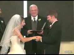 Her husband accidentally pronounces 'lawfully' as 'wawfully,' and she cracks up so much that they had to take a break in the ceremony. :))