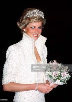 Princess Of Wales In Hong Kong Wearing An Outfit Described As The Elvis Look Designed By Fashion Designer Catherine Walker. Tour Dates 7-10 November. (exact Day Date Not Certain)  (Photo by Tim Graham/Getty Images)