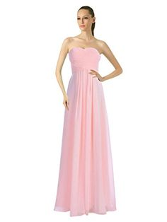 Bridesmaid Dresses - Remedios ALine Chiffon Bridesmaid Dress Strapless Long Prom Evening Gown * You can find out more details at the link of the image.