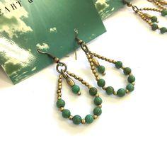 Turquoise Teardrop Hoop Earrings Item# E101610