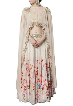 Off white floral printed & embellished lehenga
