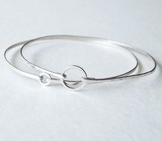 Two Dainty Hammered Sterling Circle Bangles - Sterling Silver Bracelets - Stacking Bangles