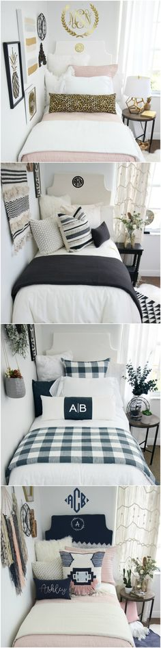 Shop Dorm Room Bedding and Décor. Design your dream dorm room and be the hit of the hall! Select your extended-length dorm bed skirt, dorm headboard, decorative pillows for your dorm bed, twin XL bedding, dorm bed scarf, custom dorm room wall art and monograms, and so much more! Our custom dorm bedding features the industries hottest dorm bedding trends. Shop farmhouse dorm bedding, floral dorm bedding, neutral dorm bedding, bright and colorful dorm bedding, Lilly dorm bedding, and more!