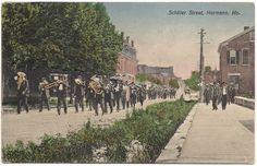 Vintage Postcard Parade Marching down Schiller Street , Hermann, Mo. June, 1911