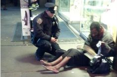 Officer De Primo buys a pair of all-weather-shoes and socks for a homeless man Facebook/NYPD