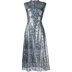 Christopher Kane long lace foil dress (£1,500) ❤ liked on Polyvore featuring dresses, grey, long grey dress, long lace dress, long length dresses, lace dress and foil dresses