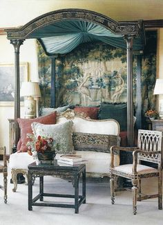 So pretty...I love the birds! I would do wall paper to continue the birds...just lightly...love this bed!